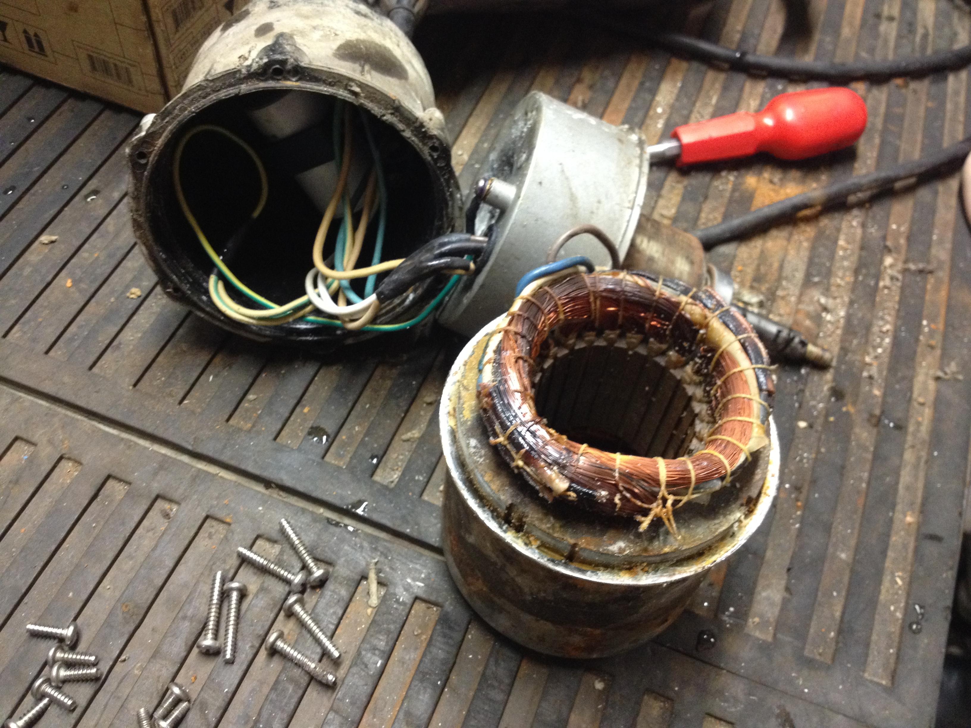 Сгорел двигатель дренажного насоса