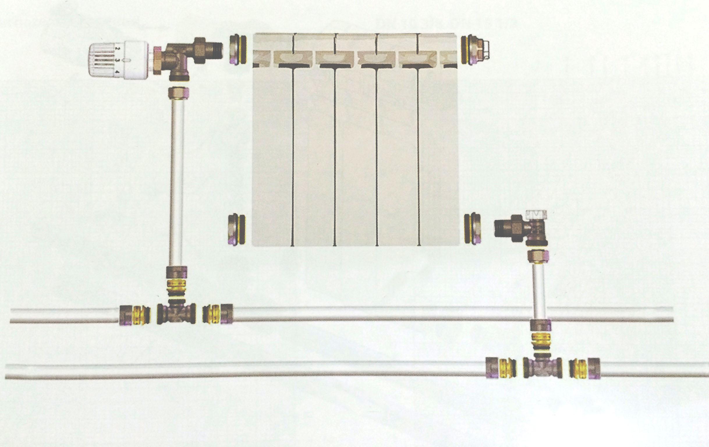 подключение батареи, батарея двухтрубная система с термоголовкой, схема подключения радиатора, радиатор в двутрубной системе отопления, установка радиатора на стене двутрубная система, батарея в квартире схема, батарея в частном доме схема, схема подсоединения батареи в доме, батарея с термоголовкой схема подключения
